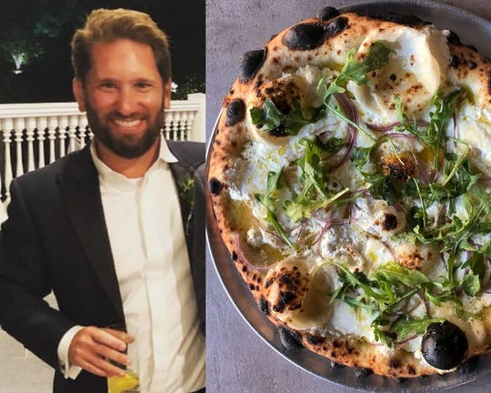On the left, Peter Lombardi, who has six tattoos. On the right, pizza with fresh ricotta, goat cheese, red onion, pine nuts, arugula and truffle honey.