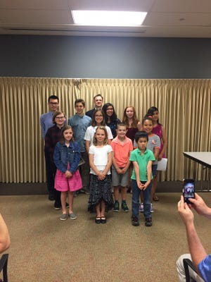 (Front row, left to right) Kendra Burdge, Theresa Fox and Roger Sun; (middle row, left to right) Annabelle Turvey, Sarah Boothe, Liam Potts, Embree Campi; and (back row, left to right) Adam Lum-DeBono, Luke John Coster, Wil Mara,Vanessa Moline, McKenzie Miller, and Melanie Gonzalez Garcia. Missing: Zoe Reich.