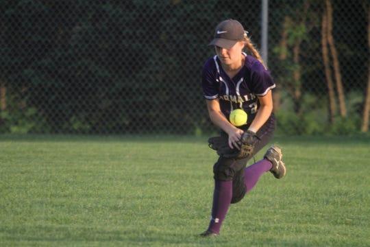 Norwalk sophomore center fielder Jayden Lammers makes a running catch.