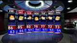 The weekend will be mostly sunny with highs in the 80s and lows near 60. There's a chance of rain later Sunday.