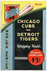 """A scorecard from a 1935 Tigers-Cubs game at Wrigley Field is among the memorabilia collected for """"Play Ball!"""" at the DIA."""