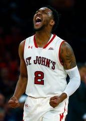 Shamorie Ponds reacts to a basket against Villanova last season.
