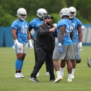 Detroit Lions head coach Matt Patricia works with the defense during minicamp practice Thursday, June 6, 2019 in Allen Park.