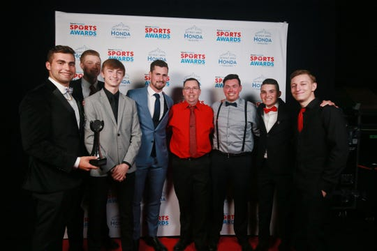 Detroit Red Wings center Dylan Larkin with Top Team: Fan Vote the New Boston Huron Boys Bowling Team, Thursday, June 6, 2019 at the Fillmore Detroit.