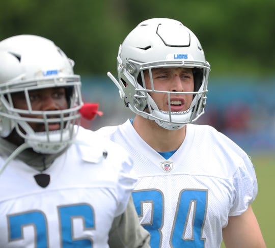 Detroit Lions running back Zach Zenner watches drills during minicamp practice Thursday, June 6, 2019 in Allen Park.