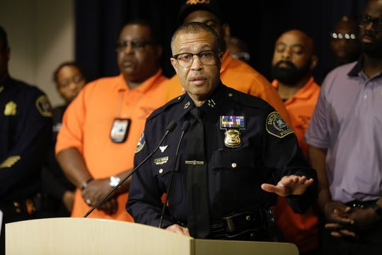 Detroit Police Chief James Craig holds a press conference with the mayor of Detroit, Mike Duggan, and community volunteers Detroit 300 about sweeping abandoned buildings searching for bodies after making an announcement about a serial killer at the Detroit Police headquarters in Detroit on Friday, June 7, 2019.