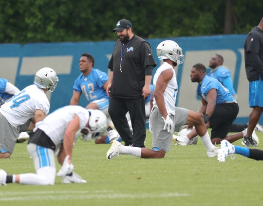 Detroit Lions head coach Matt Patricia on the field during minicamp practice Thursday, June 6, 2019 in Allen Park.