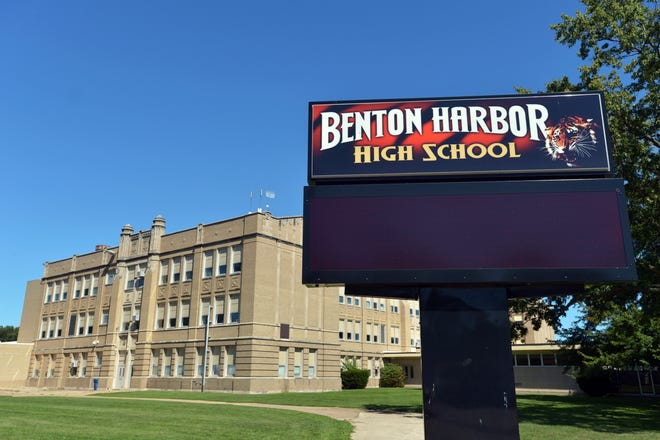 This July 29, 2017, photo shows Benton Harbor High School, in Benton Harbor, Mich. Students, faculty, pastors and officials gathered for a news conference, Thursday, May 30, 2019, at Benton Harbor City Hall in response to the state's proposals to close the high school or face a complete shutdown of the district. The state says district finances and academic performance are poor. (Don Campbell/The Herald-Palladium via AP)