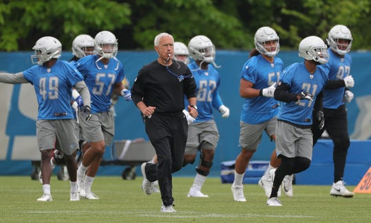 Detroit Lions defensive coordinator Paul Pasqualoni on the field during minicamp practice Thursday, June 6, 2019 in Allen Park.