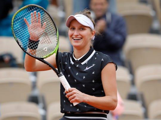Marketa Vondrousova of the Czech Republic celebrates winning her semifinal match of the French Open Friday.