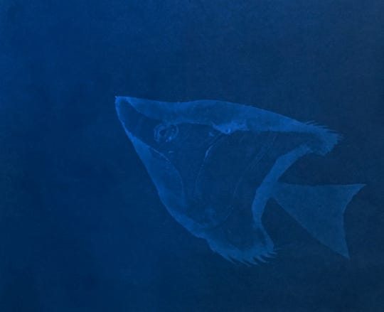 "Artist Heather Beardsley created sea creatures from recycled plastic bags and cyanotype art as part of Science Gallery Detroit's ""DEPTH"" at the Michigan Science Center."