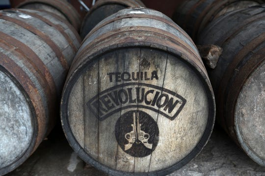 A wooden barrel at the Tequila Cascahuin distillery, in El Arenal, Jalisco state, Mexico.