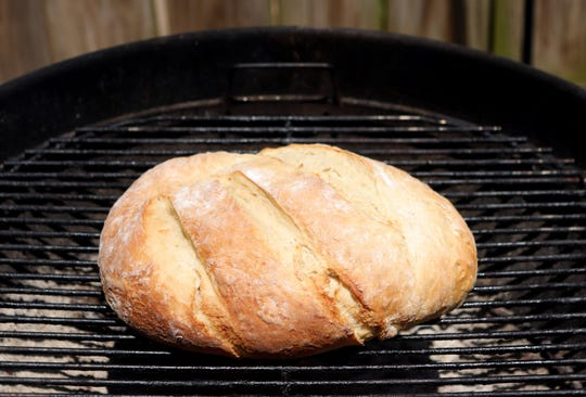 Bread can be baked on the barbecue grill.