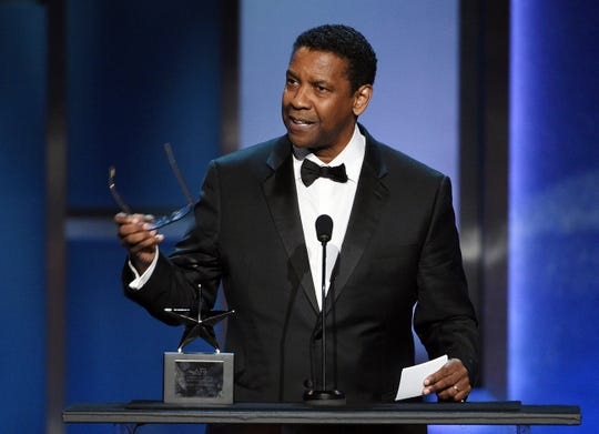 Actor Denzel Washington addresses the audience during the 47th AFI Life Achievement Award ceremony honoring him.