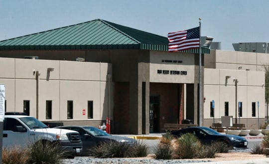 This April 20, 2019, photo shows the Adelanto Detention Center in Adelanto, Calif., a desert community northeast of Los Angeles.