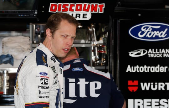 Brad Keselowski prepares for practice for the NASCAR Cup series race at Michigan International Speedway on Friday.