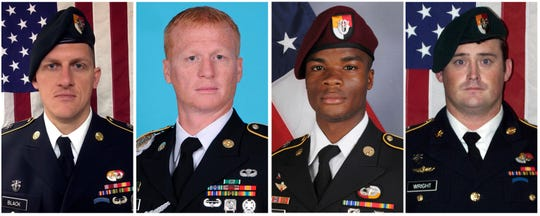 These images provided by the U.S. Army show, from left, Staff Sgt. Bryan C. Black, 35, of Puyallup, Wash.; Staff Sgt. Jeremiah W. Johnson, 39, of Springboro, Ohio; Sgt. La David Johnson, 25, of Miami Gardens, Fla.; and Staff Sgt. Dustin M. Wright, 29, of Lyons, Ga.
