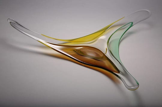 A piece of art created at The Art of Fire, Clay, Glass, Metal.