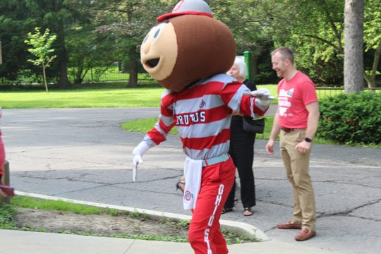 Brutus Buckeye paid a visit to the Rutherford B. Hayes Presidential Library and Museums Thursday, along with Ohio State University President Michael Drake and approximately 20 OSU students.