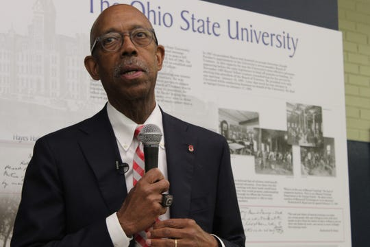 Ohio State University President Michael Drake speaks to OSU supporters Thursday at the Rutherford B. Hayes Presidential Library and Museums. Drake was visiting northwest Ohio this week as part of OSU's 150th anniversary celebration
