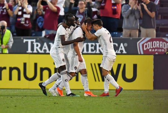Colorado Rapids players celebrate after scoring a goal in a June 1 game against FC Cincinnati at Dick's Sporting Goods Park in Commerce City. The Rapids are home again for a 7 p.m. game Saturday against Minnesota United FC.