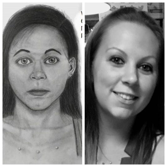 A sketch made by Walt Siegel of a person described by reporter Michael Braun. The photo at right is the subject, Cassandra Braun, his daughter.