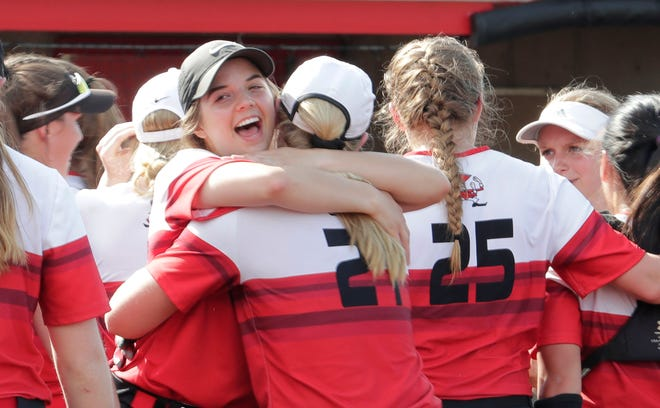 Pulaski players celebrate a victory over Wilmot at the WIAA state tournament in 2019. The tournament, which usually is played at Goodman Diamond in Madison, will be at King Park in Green Bay this season.