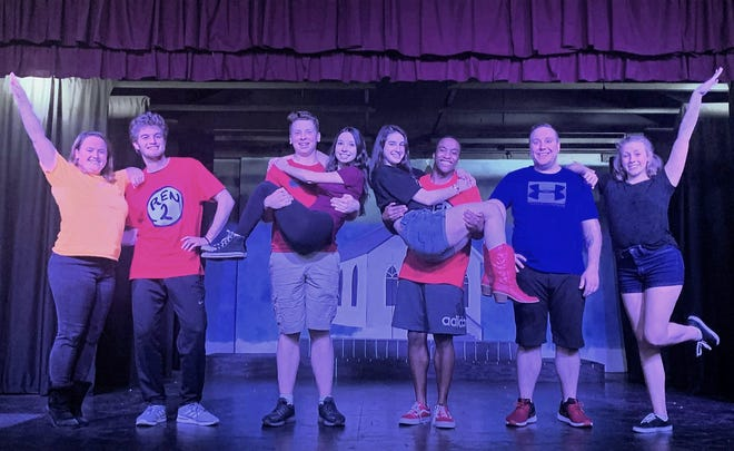 "The cast of ""Footloose: The Musical"" rehearses a scene at the Byng Community Theater in Abrams. They are, from left: Charis Wirtley, Jack Anderson, Owen Goffard, Katie Koehn, Abby Frank, Akeem Edmonds, Tyler Otto and Bella Frank."