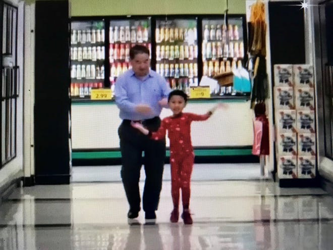 A 5-year-old boy and his grandpa star in their own dance video at a Green Bay grocery store.