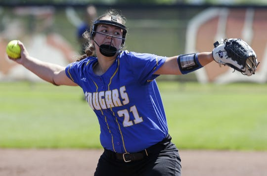 Campbellsport's Alyssa Muench (21) had 12 strikeouts against Southern Door in a WIAA Division 3 state semifinal Friday.