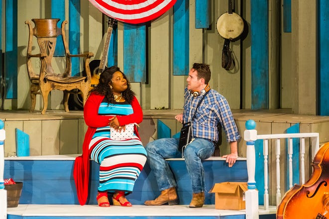 """Lachrisa Grandberry and Doug Clemons in a scene from Northern Sky Theater's 2018 production of """"Dairy Heirs."""" The musical returns for the 2019 summer season at Northern Sky."""
