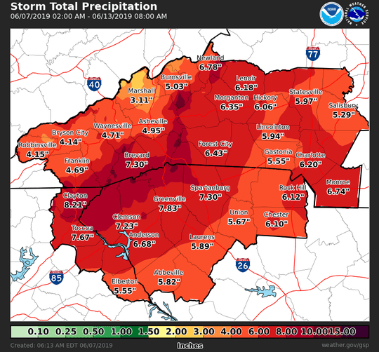 Rainfall totals predicted over the next several days