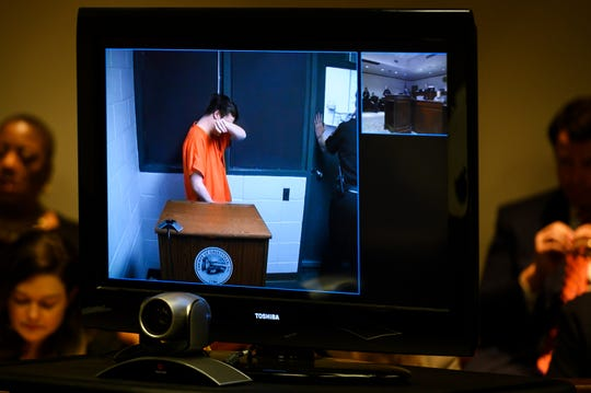 "Carter Owen, 27, of Pelzer, is seen on a television screen during his bond hearing Friday, June 7, 2019. Owen claims to have had ""no recollection"" of the fatal DUI crash, which resulted in the death of a Ware Shoals High School senior."