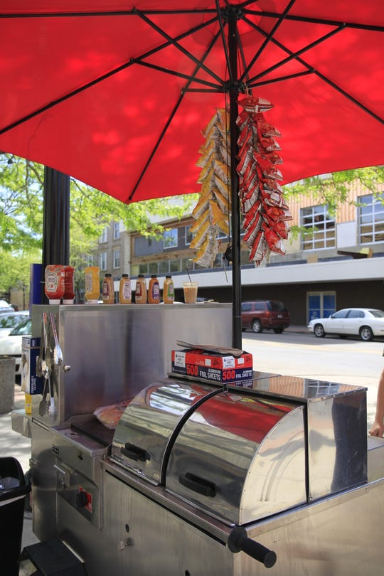The hot dog stand now sits at on the corner of Central Ave. and 4th St.