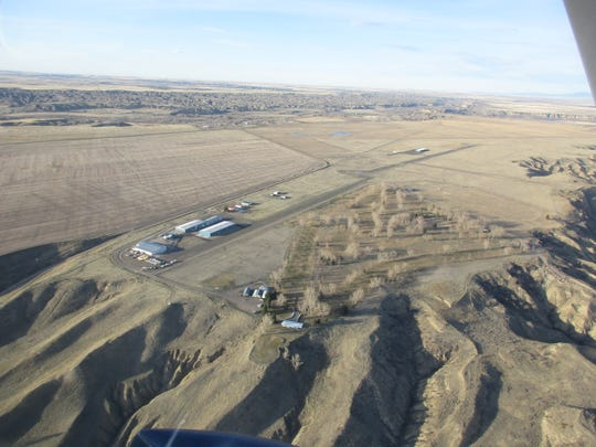 The Fort Benton Airport as seen from the air.