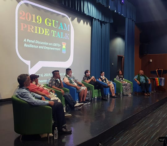 Members of the 2019 Guam Pride Talk panel discussion are introduced to the audience on June 6, 2019.
