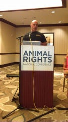 "Richard Couto, founder of the Animal Recovery Mission, speaking about animal rights. Couto started the group to be an ""uncompromising defending force"" for animal welfare, often doing undercover investigations to find animal cruelty."
