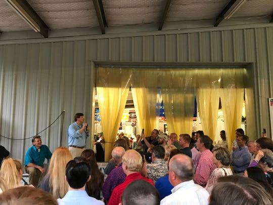 Lt. Gov. Tate Reeves was the final speaker at the Good Ole Boys and Gals election season event in Oxford on Thursday. One of the founders, Johnny Morgan, sits below.