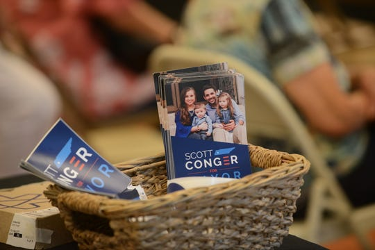 The Scott Conger campaign holds a campaign event at its headquarters on May 30 in downtown Jackson, Tenn.