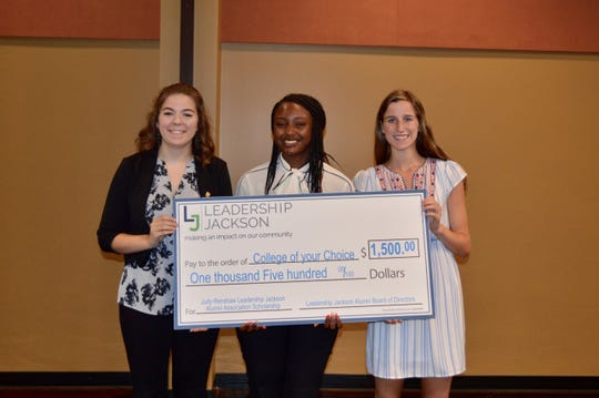 Faythe Watkins, Kerrington Peoples and Katherine Ryan each received a $1,500 scholarship from the Leadership Jackson Alumni Association.