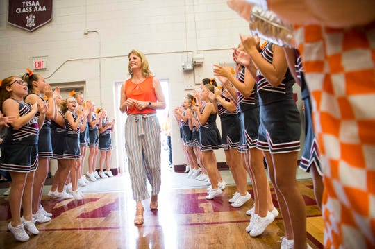 Lady Vols coach Kellie Harper is celebrated at her former high school in White County High School, in Sparta, Tennessee, Thursday, June 6, 2019.