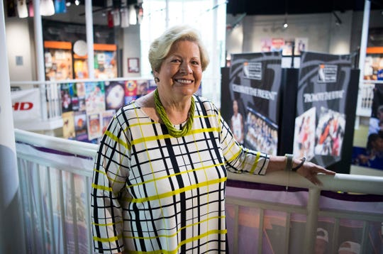Former UT Women's Athletic Director of 30 years Joan Cronan, poses for a portrait during media availability for the 2019 inductees of the Women's Basketball Hall of Fame at the hall on Friday.