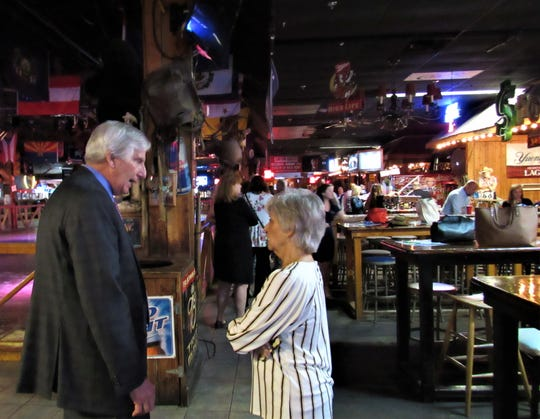 Knox County Commissioner John Schoonmaker touched base with Executive Director Jill Thompson at the Greater Knoxville Hospitality Association meeting on June 6 at Cotton Eyed Joe in Farragut. 2019