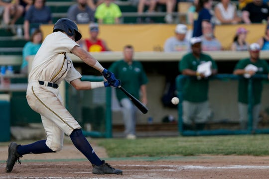 Lafayette Aviators shortstop Trey Sweeney (2) swings during the fifth inning of a regular season Prospect League baseball game, Thursday, June 6, 2019, at Loeb Stadium in Lafayette.