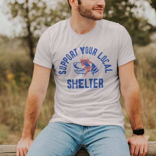 The t-shirt design by Kate Smith Co. being sold to benefit a different animal shelter each month.