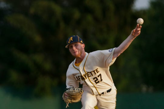 Lafayette Aviators pitcher Brendan Anderson (27) throws during the fifth inning of a regular season Prospect League baseball game, Thursday, June 6, 2019, at Loeb Stadium in Lafayette.