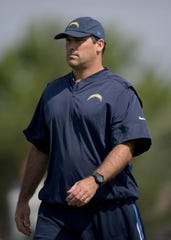 Jul 30, 2017; Costa Mesa CA, USA; Los Angeles Chargers assistant offensive line coach James Cregg reacts during the opening day of training camp at the Jack Hammett Sports Complex. Mandatory Credit: Kirby Lee-USA TODAY Sports