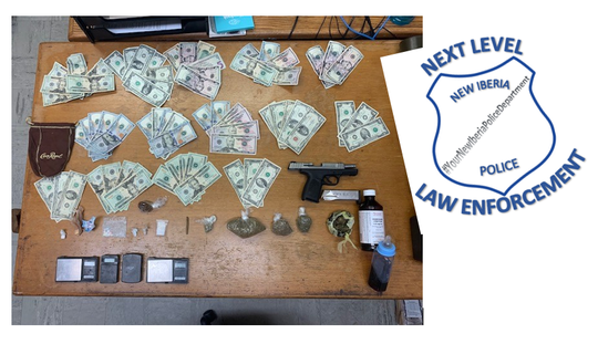Drugs, money and a handgun were found while police were serving an arrest warrant against Terrol James Dugas.