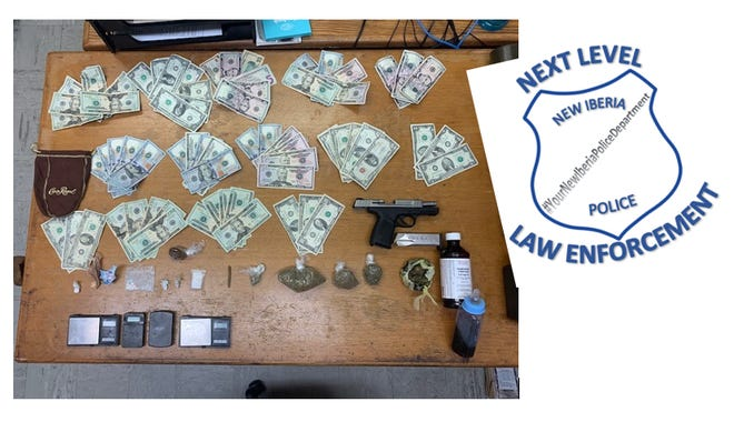 Drugs, money and a handgun were found while police were serving an arrest warrant against Terrol James Dugas.