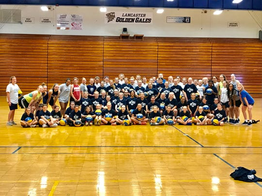 The Lancaster Lady Gales Basketball Camp was held over four days in three sessions each day, consisting of 140 players in grades one through eight. Lancaster girls coach Dusty Miller, his coaching staff and players ran the camp. Each camper received personal instruction, as a well as a basketball and camp T-shirt.
